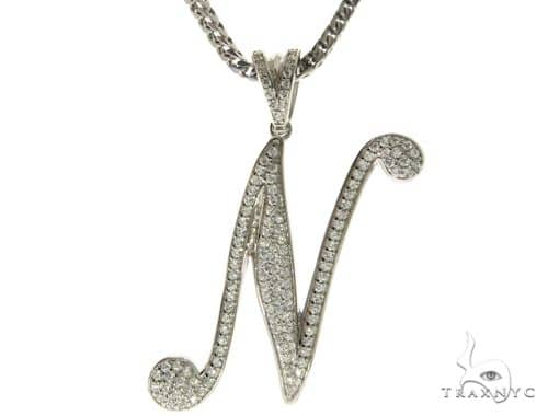 CZ Silver Initial(N) Pendant 30 Inches Franco Chain Set 58510 Metal