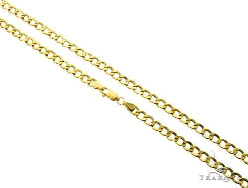 10K Yellow Gold Hollow Cuban Curb Link Chain 20 Inches 4.2mm 4.9 Grams 61601 Gold