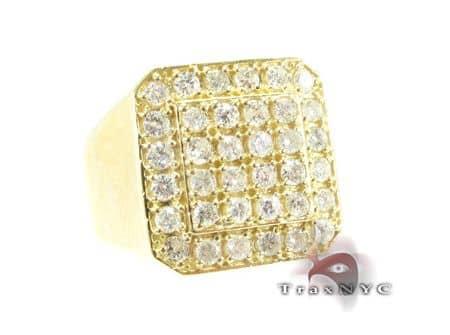 Mens Light 10k Yellow Gold Pinky Ring Stone