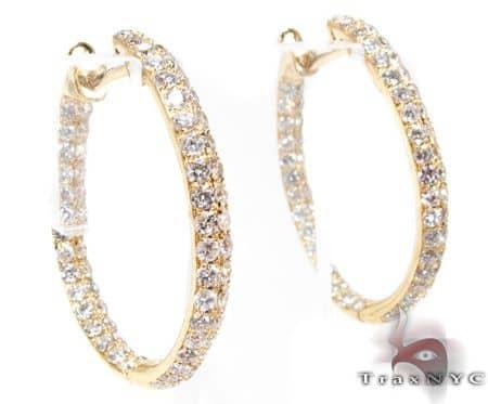 YG Two Row Diamond Hoops 2 Stone
