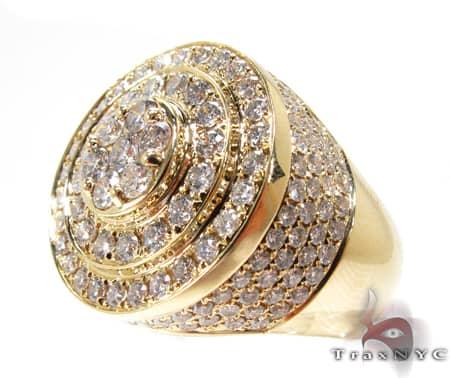 Mens Gold Mayan Pinky Ring Stone