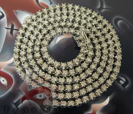 Round Cut Prong Chain 32 Inches, 5mm, 71 Grams Diamond