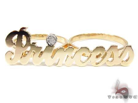 14K Yellow Gold & Diamond Princess Script Ring Anniversary/Fashion