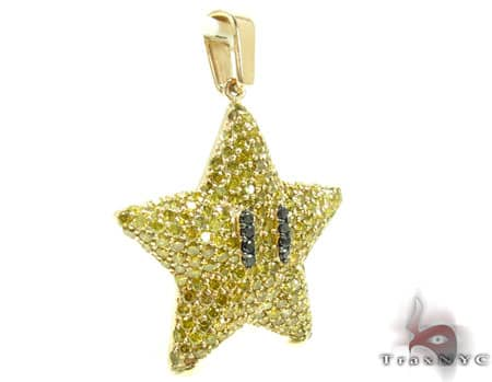 Super Mario Bros Star Yellow Color Diamond Pendant Metal