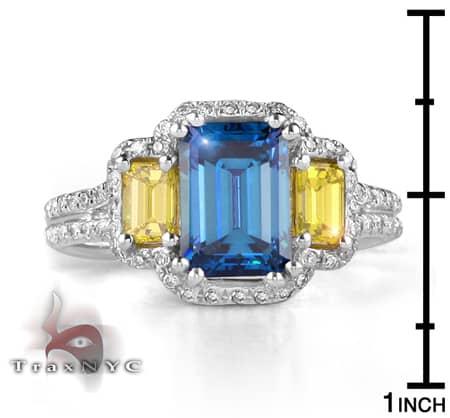 Ladies Blue & Canary Bridge Ring Anniversary/Fashion