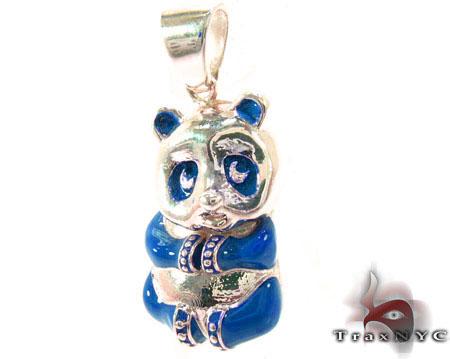 Blue Enamel Panda Pendant Metal