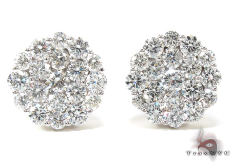 Ladies Cluster Diamond Stud Earrings 21049 Stone