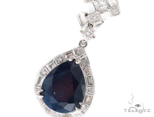 Prong Diamond Sapphire Earrings 42437 Stone