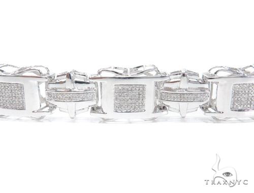 Prong Diamond Sterling Silver Bracelet 41779 Silver