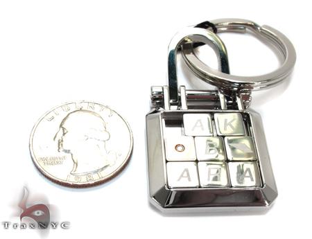 18K Gold Plated Stainless Stee Round Cut Bezel Diamond Baraka Key Chain Metal