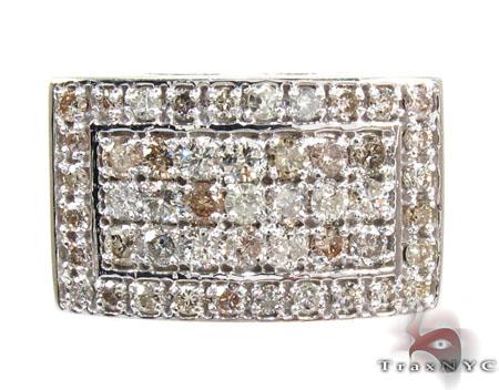 Silver 5 Row Prong Diamond Ring Metal