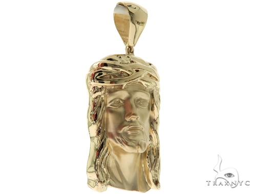 Small Solid 14K Gold Jesus Pendant 45363 Style