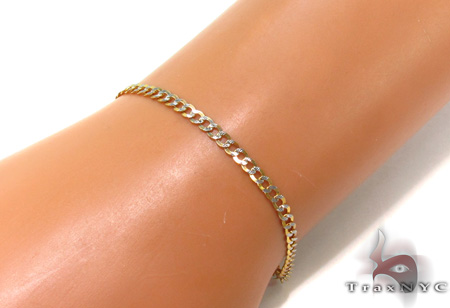 Solid Cuban Diamond Cut Bracelet 8 Inches 3mm 1.9 Grams Gold