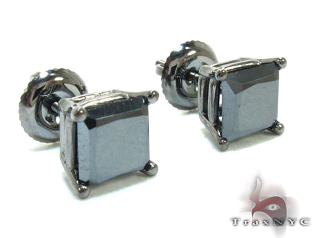 Black Gold Princess Cut Prong Black Diamond Earrings Stone