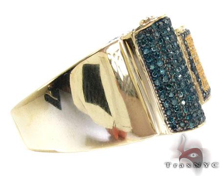 Yellow Gold Round Cut Micro Pave Multi ColorDiamond Ring Stone